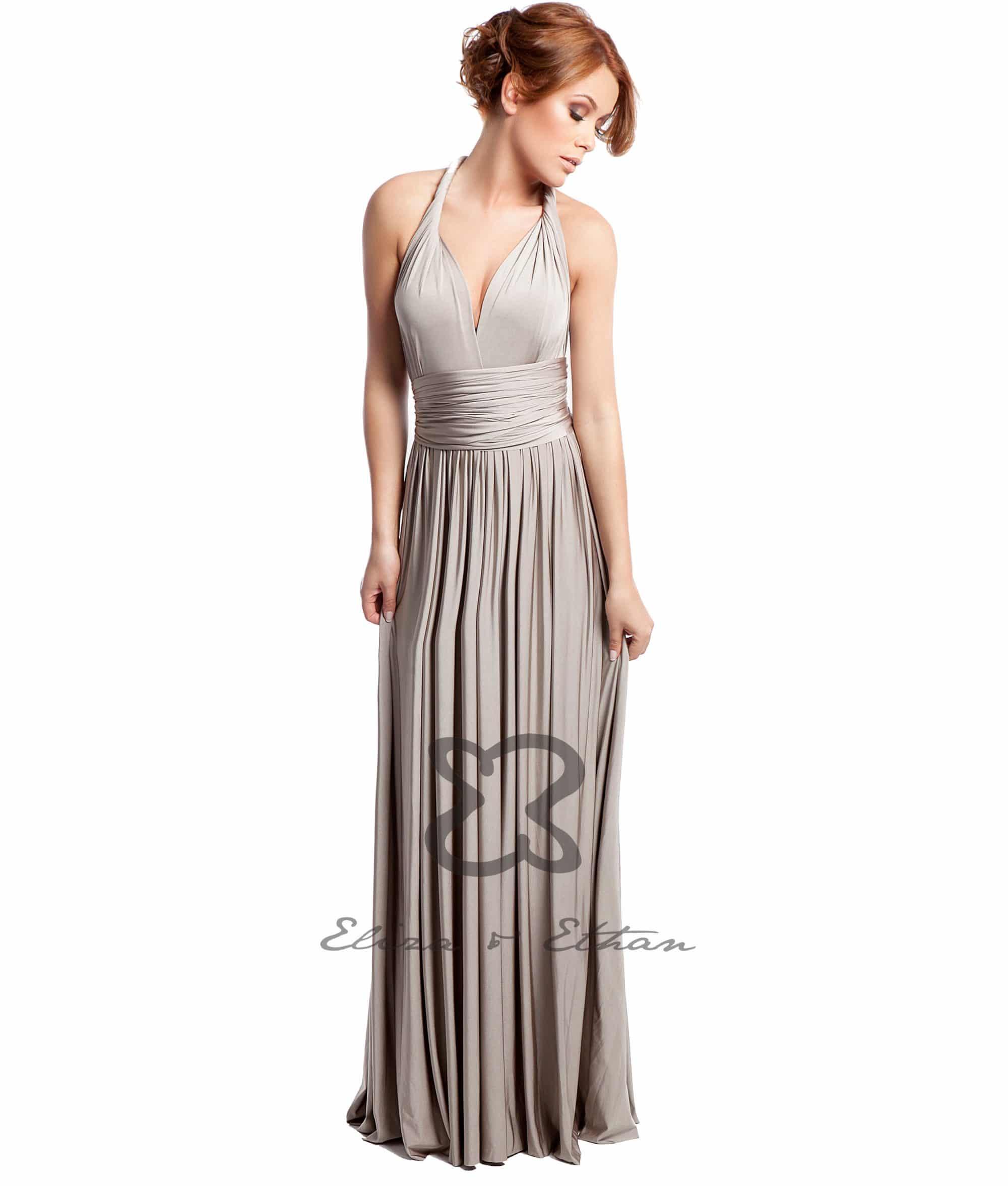 Champagne Eliza U0026 Ethan Multi-wrap Dress - Alila