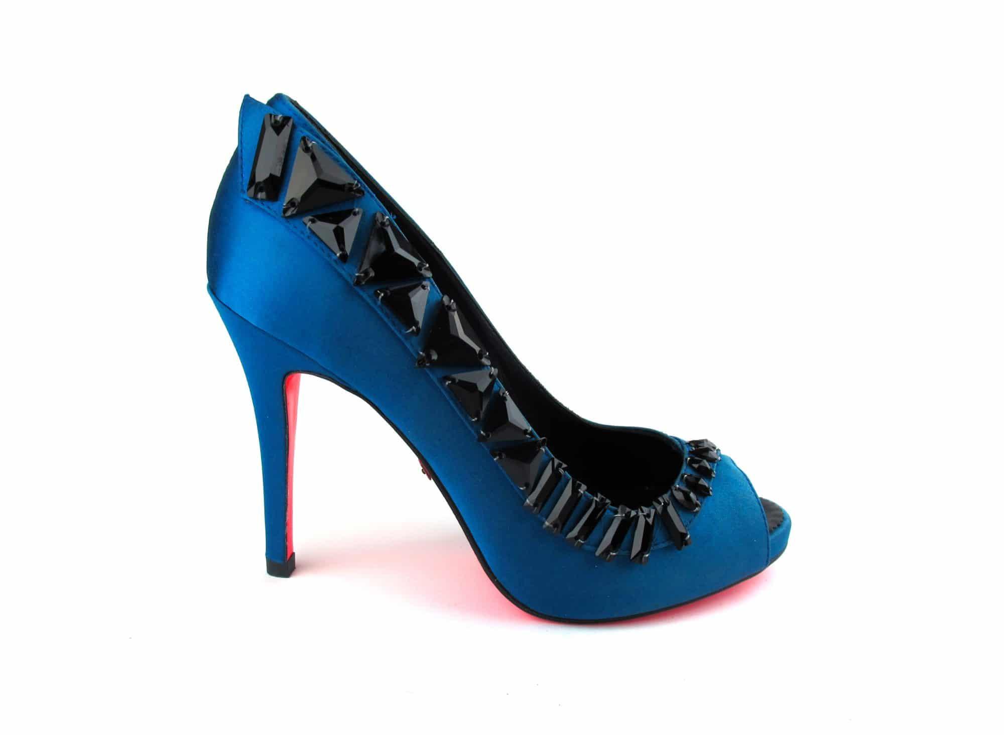 Suecomma Bonnie Teal & Black Crystal peep-toe heels