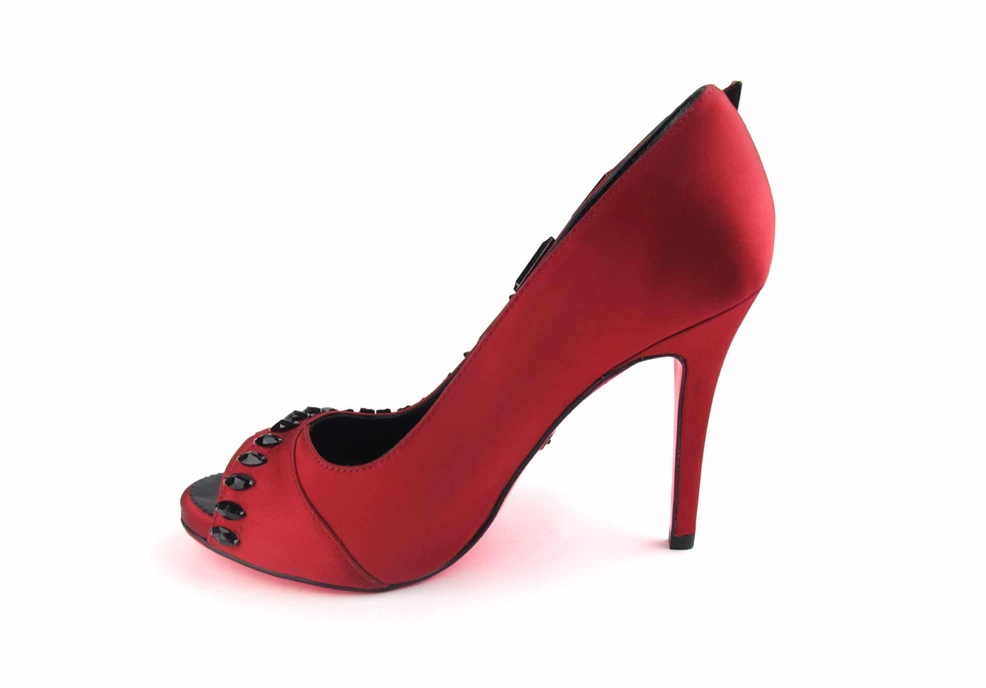 Suecomma Bonnie Red peep toe heels with black crystals