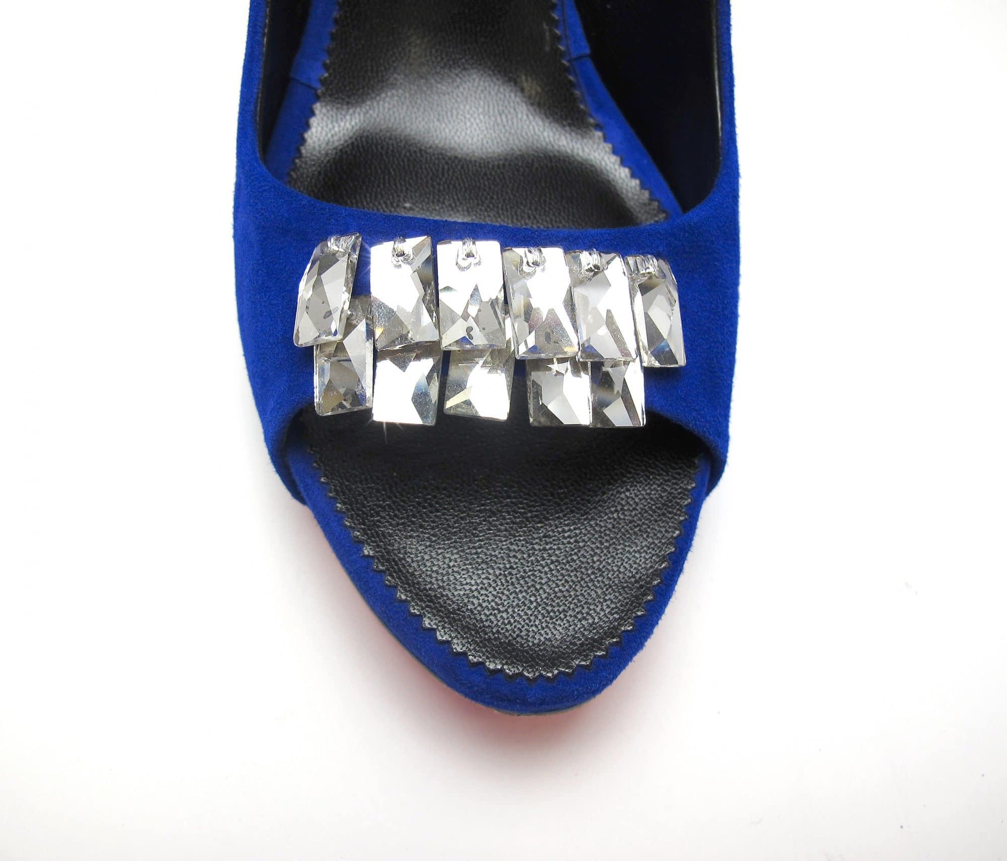Suecomma Bonnie Blue Suede Peep Toe heels with Swarovski Crystals