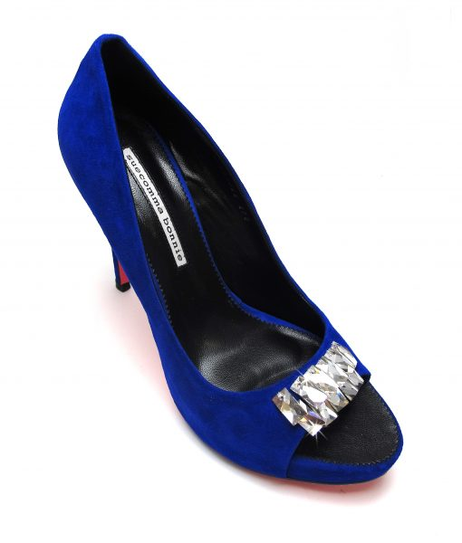 Suecomma Bonnie Blue Suede Peep Toe heels with Swarovski Crystals