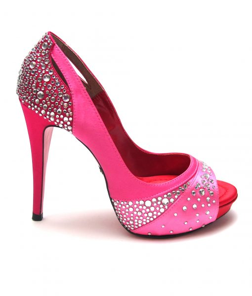 Suecomma Bonnie Couture Pink & Red Open Toe Heels
