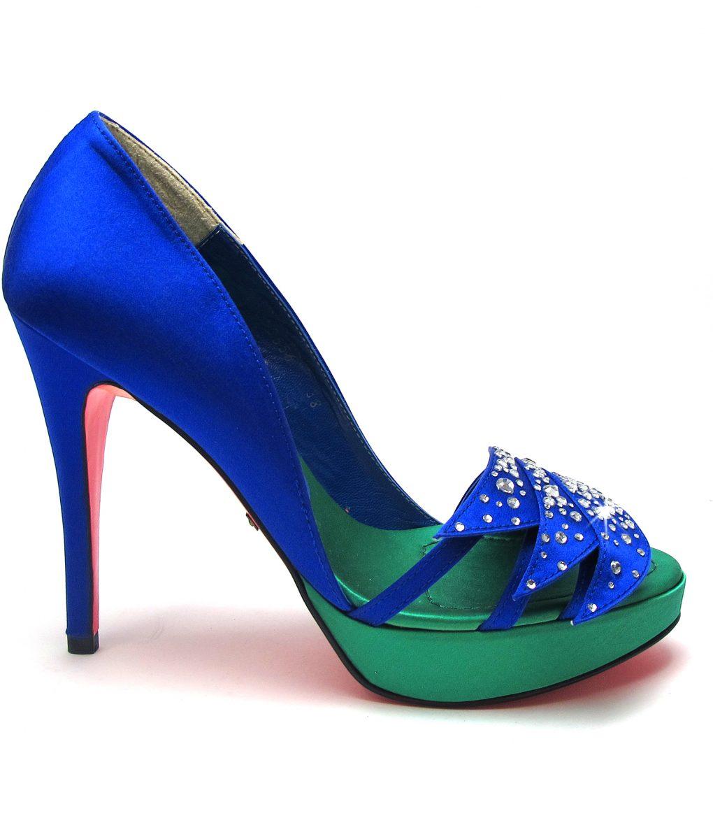 Suecomma Bonnie Blue & Green Silk & Crystal Open toe silk heels