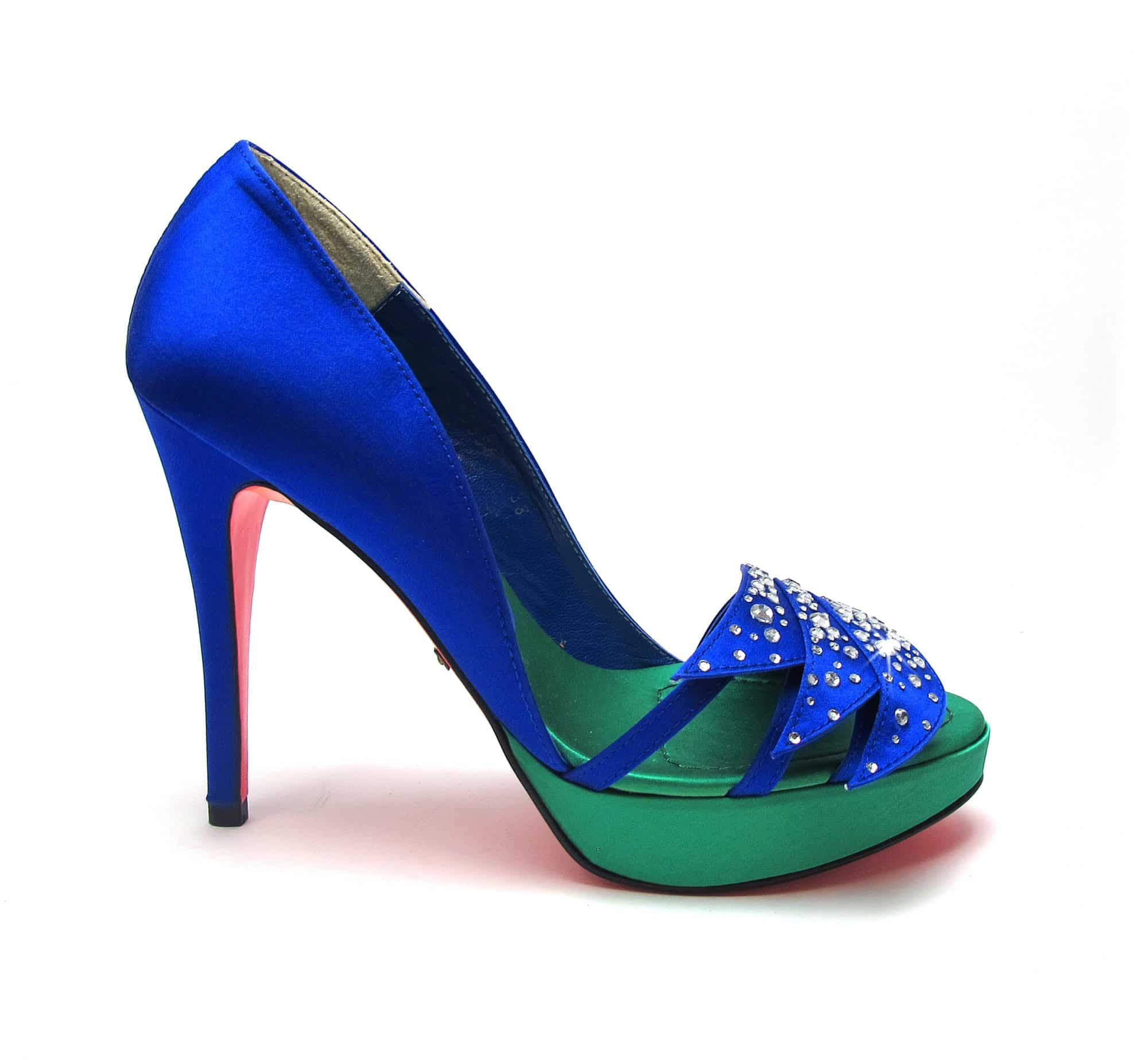 Suecomma Bonnie Blue & Green Silk & Crystal Open toe silk heels