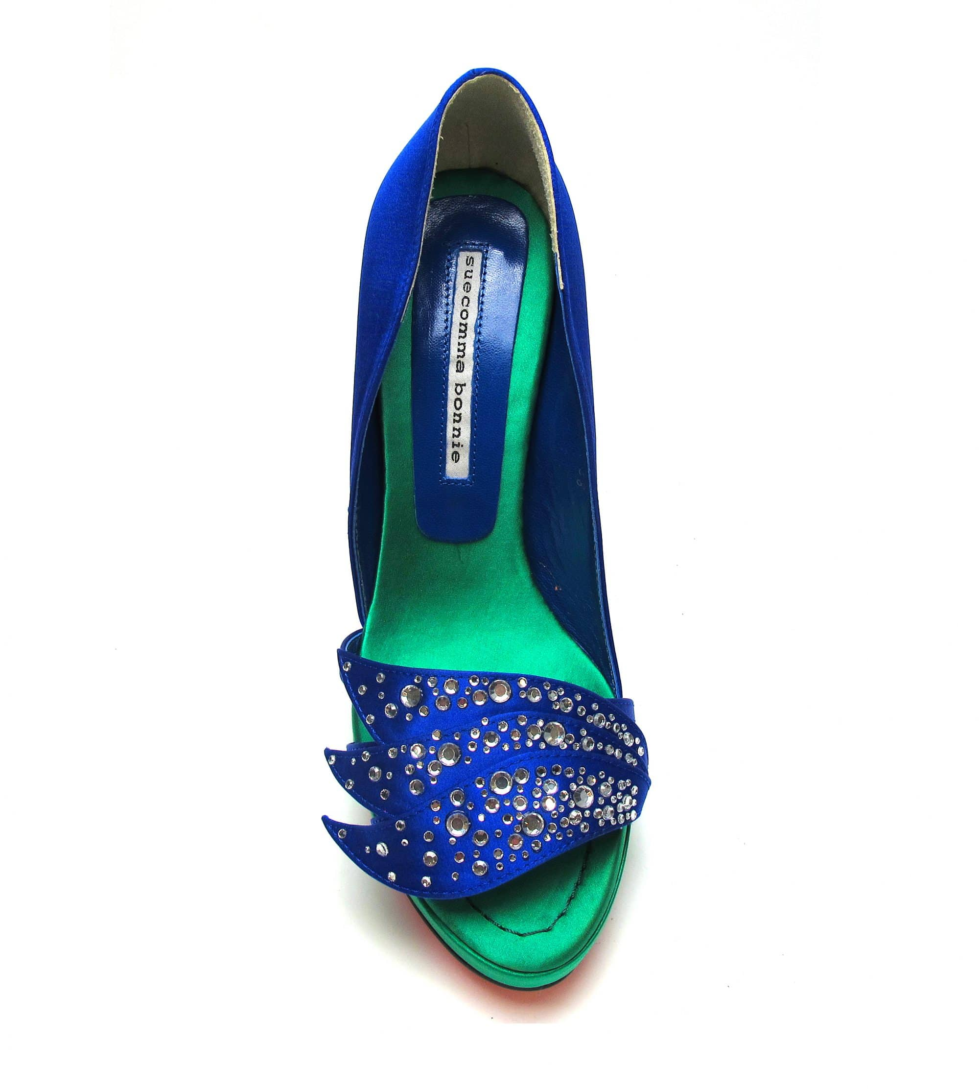 Suecomma Bonnie Blue & Green Silk & Crystal Open toe heels