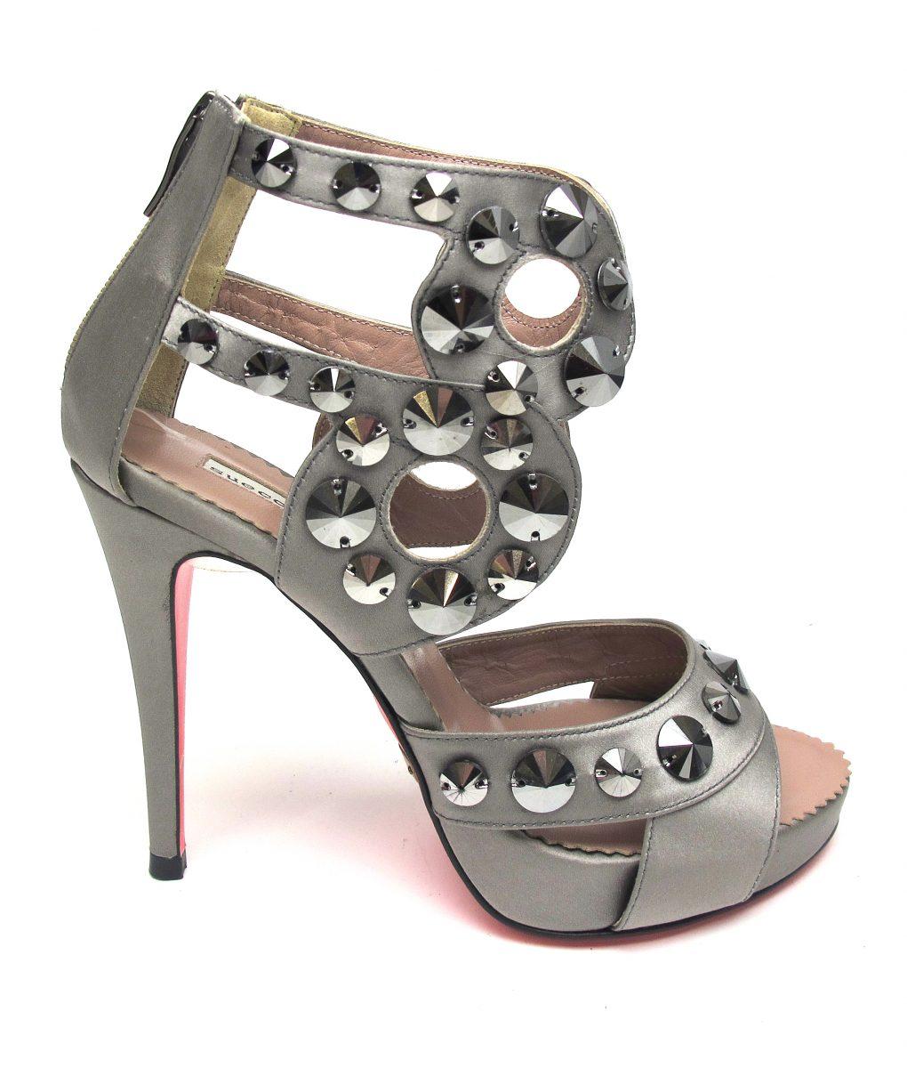 Suecomma Bonnie metallic Pewter & Swarovski Gladiator heels