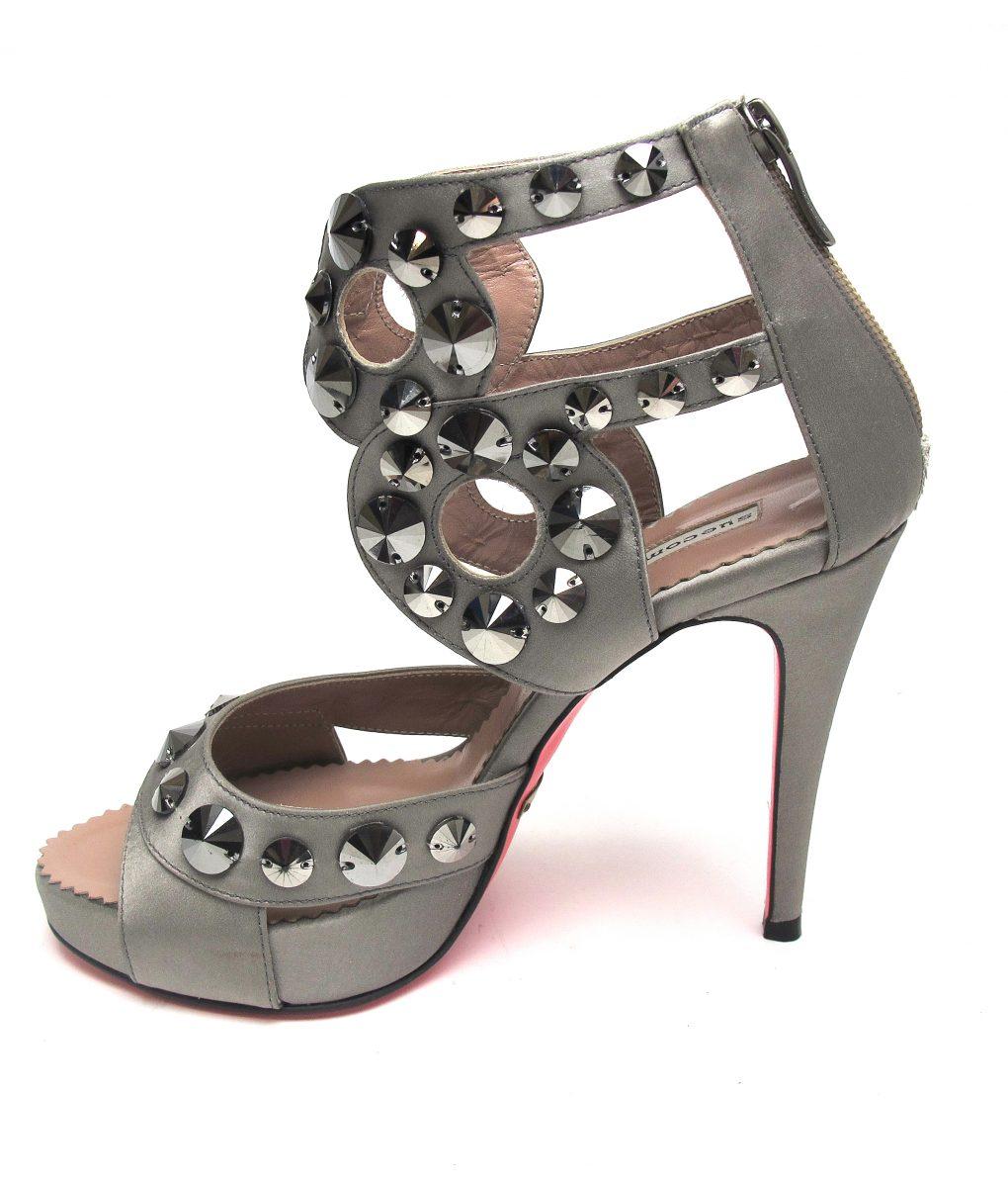 Suecomma Bonnie Pewter & Swarovski Gladiator heels