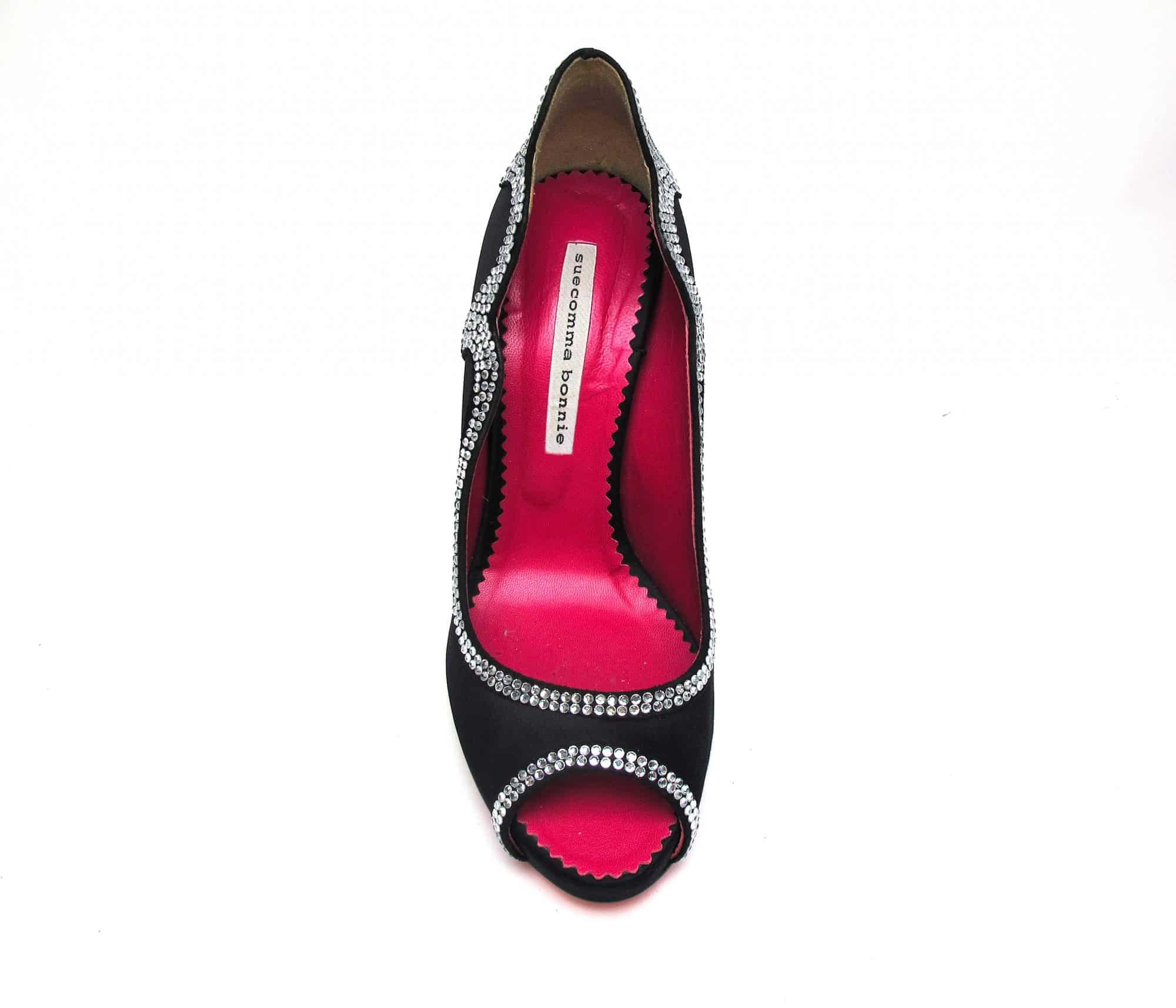 Suecomma Bonnie Black & Crystal embellished peep toe heels