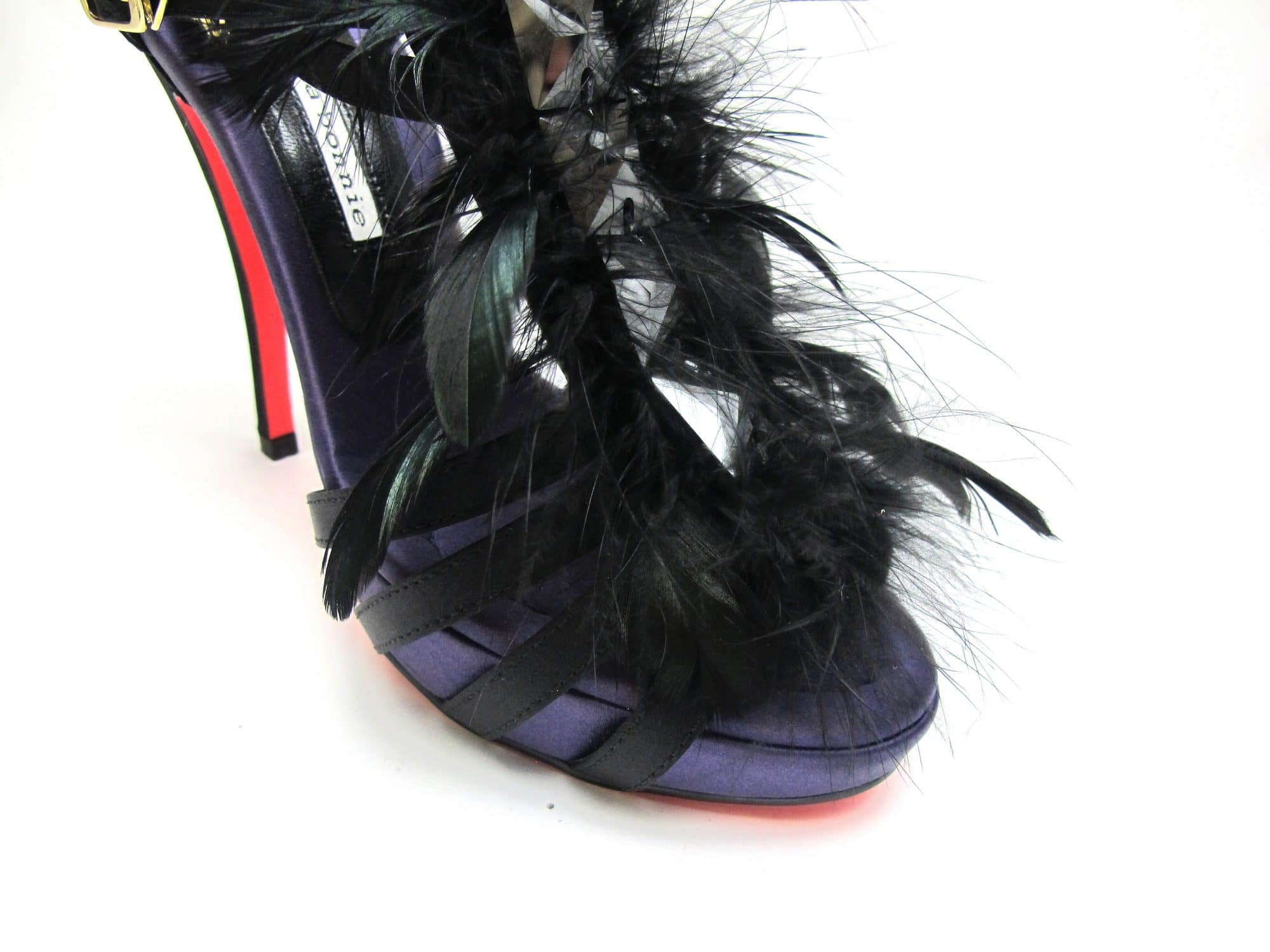 Suecomma Bonnie Black & Purple Strappy heels with feathers