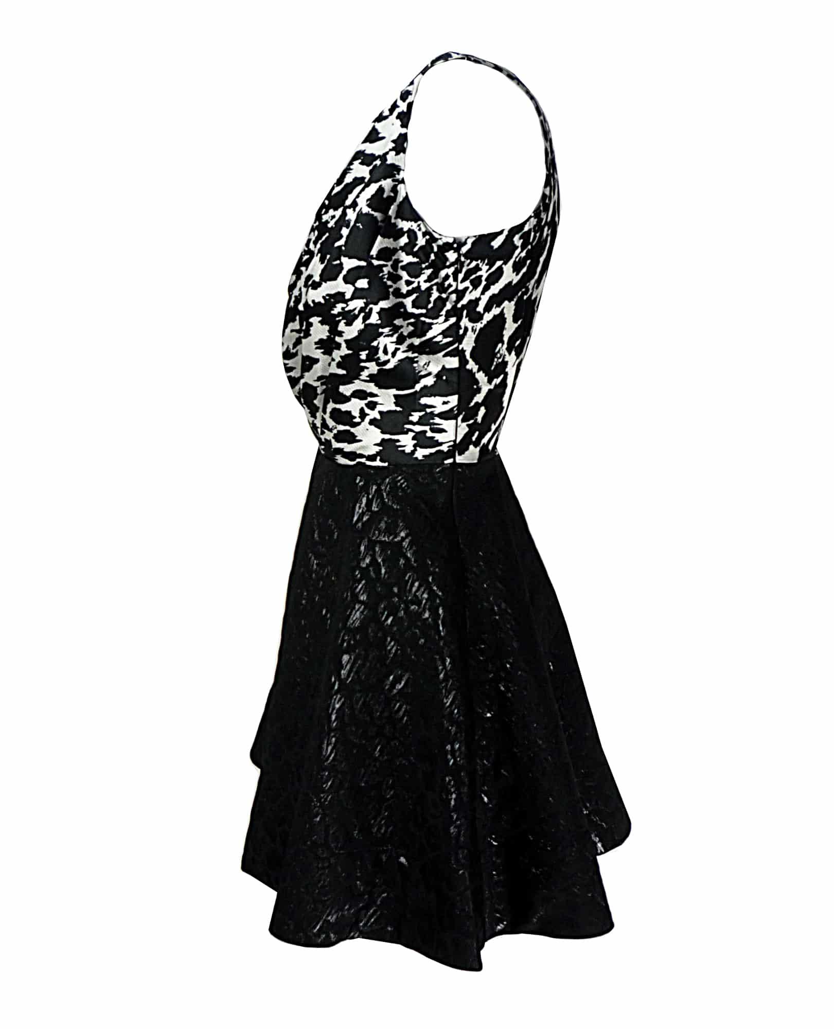 Oliva Rubin NICOLA Black & White Print Skater Dress