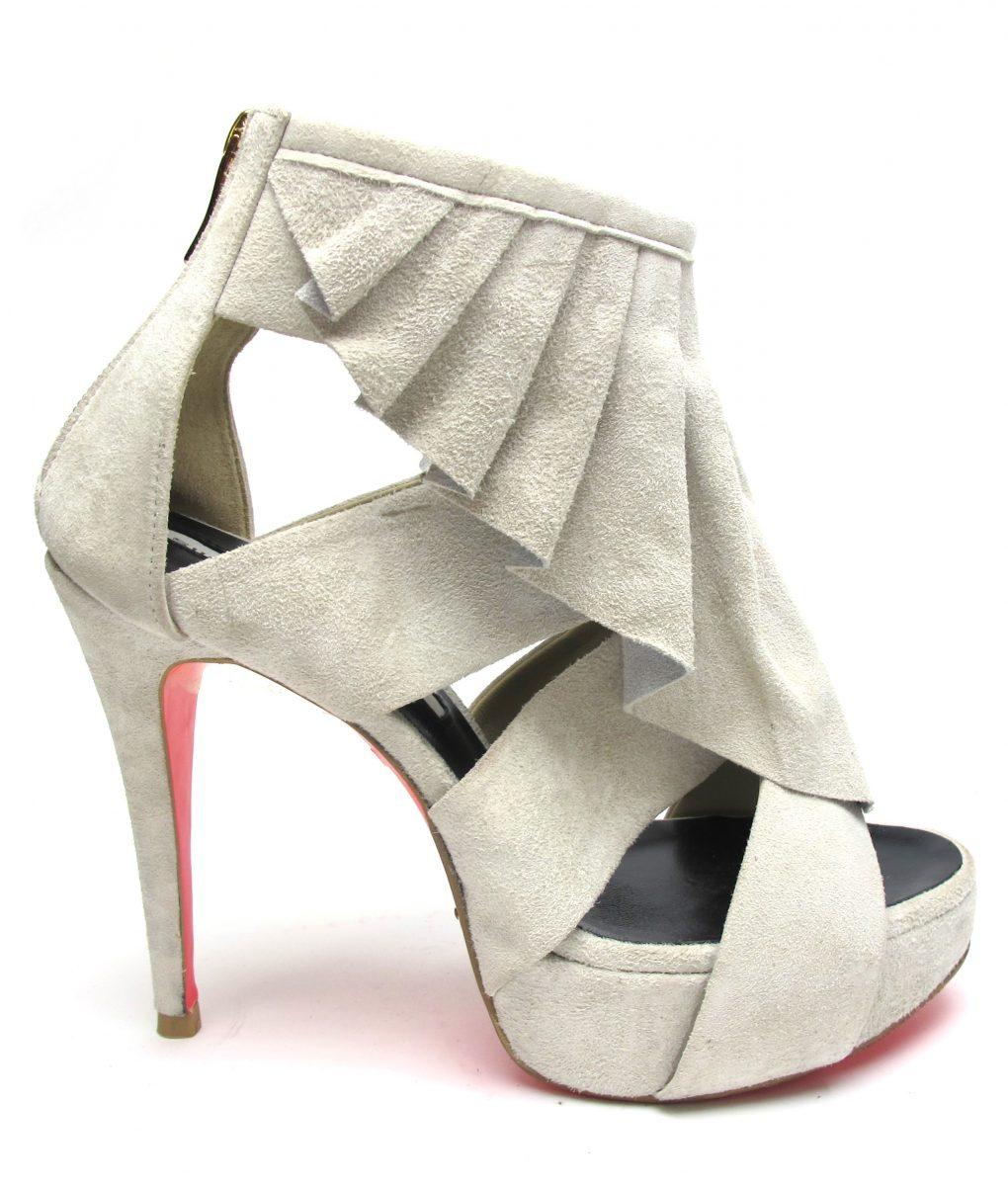 Suecomma Bonnie Ecru Suede Ruffle heels