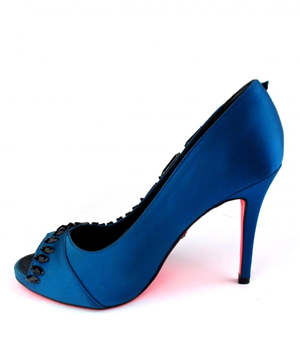 Suecomma Bonnie Teal & Black Crystal open toe heels