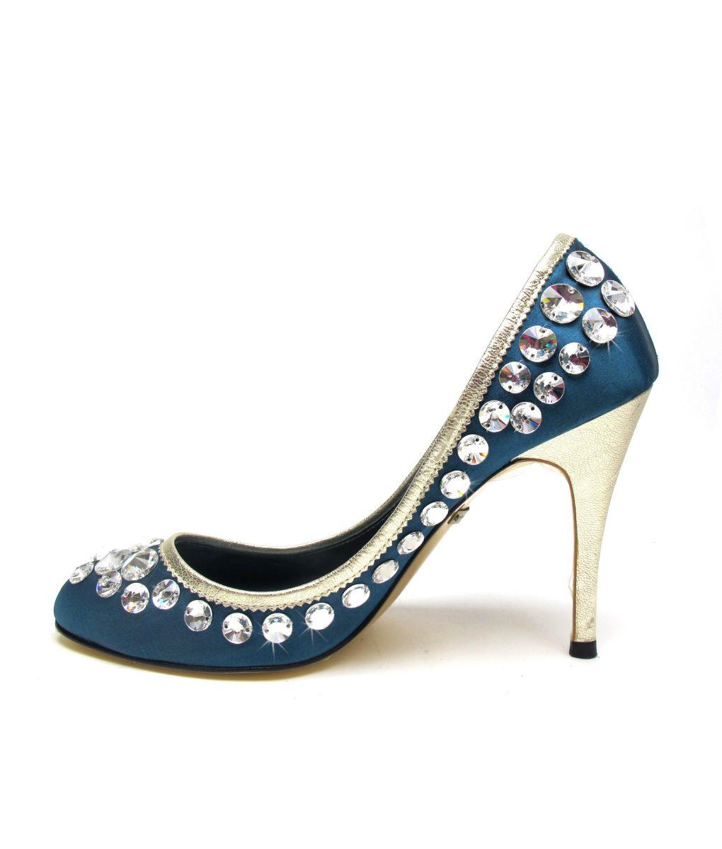 Suecomma Bonnie Teal Swarovski Crystal heels