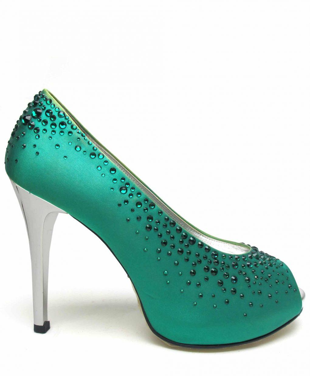Suecomma Bonnie Green silk & Swarovski Open toe heels