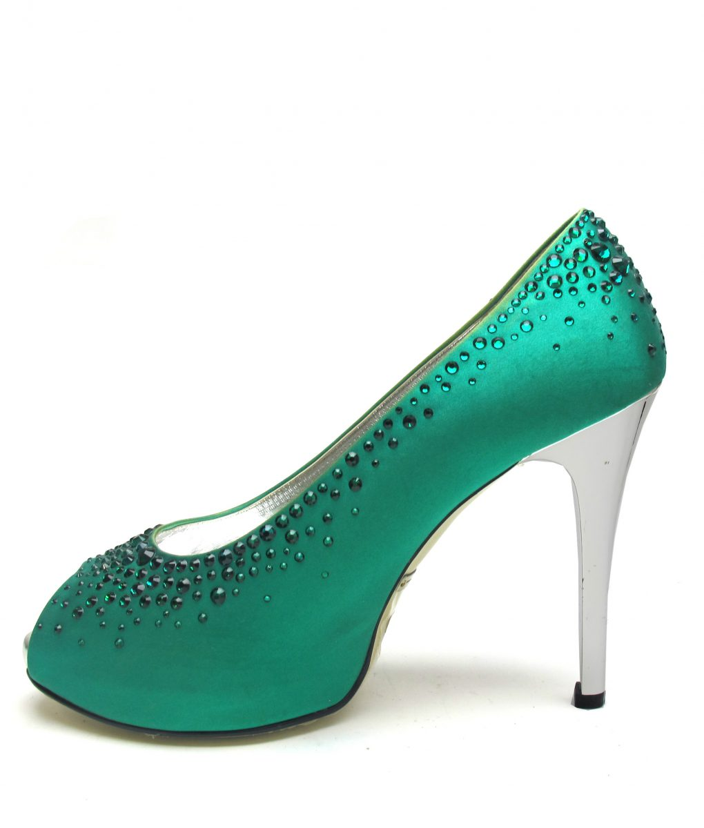 Suecomma Bonnie Green & Swarovski Open toe heels