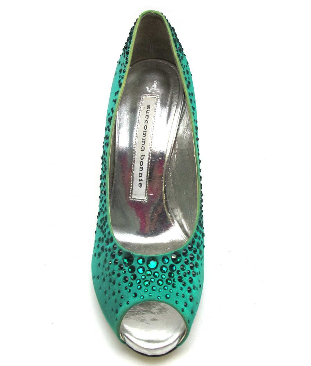 Suecomma Bonnie Emerald green heels with Swarovski crystals
