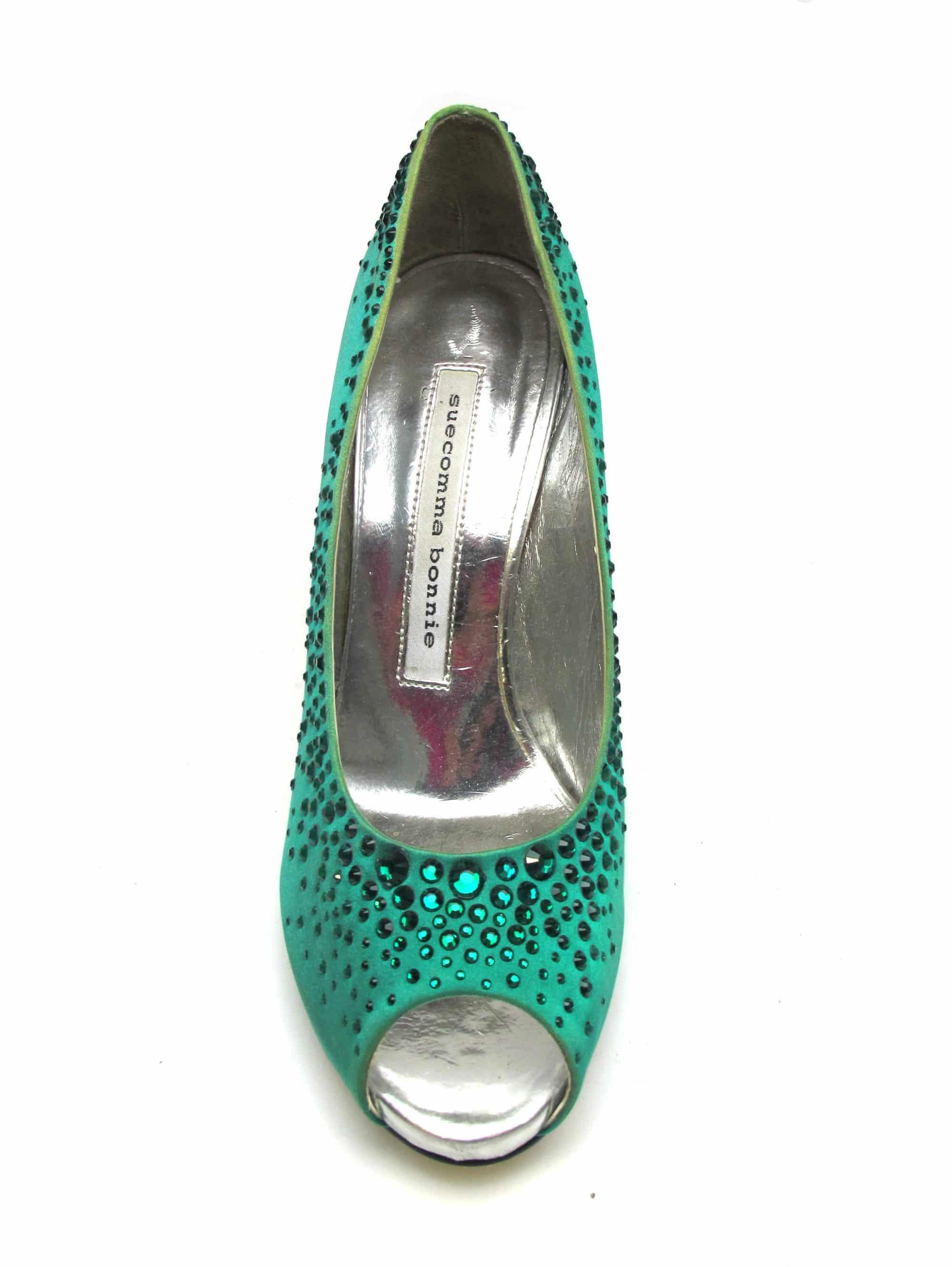 Suecomma Bonnie Emerald green heels with swarovski crystals