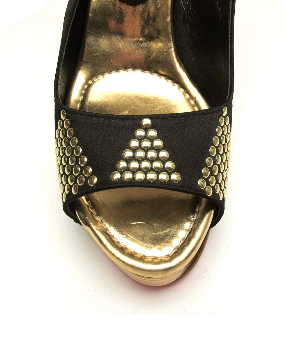 Suecomma Bonnie Black and Gold stud sling-back platform heels
