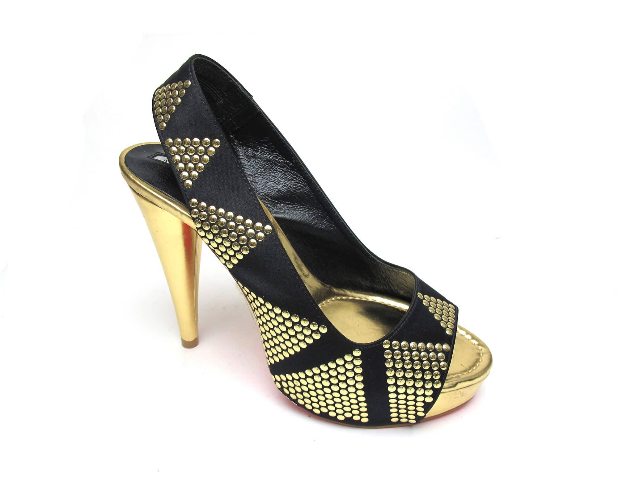 Suecomma Bonnie Black and Gold stud sling-back platform heels
