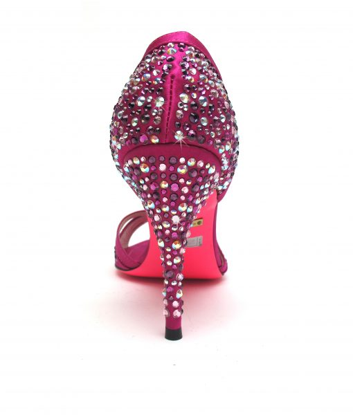 Suecomma Bonnie Fuschia and Swarovski peep toe heels