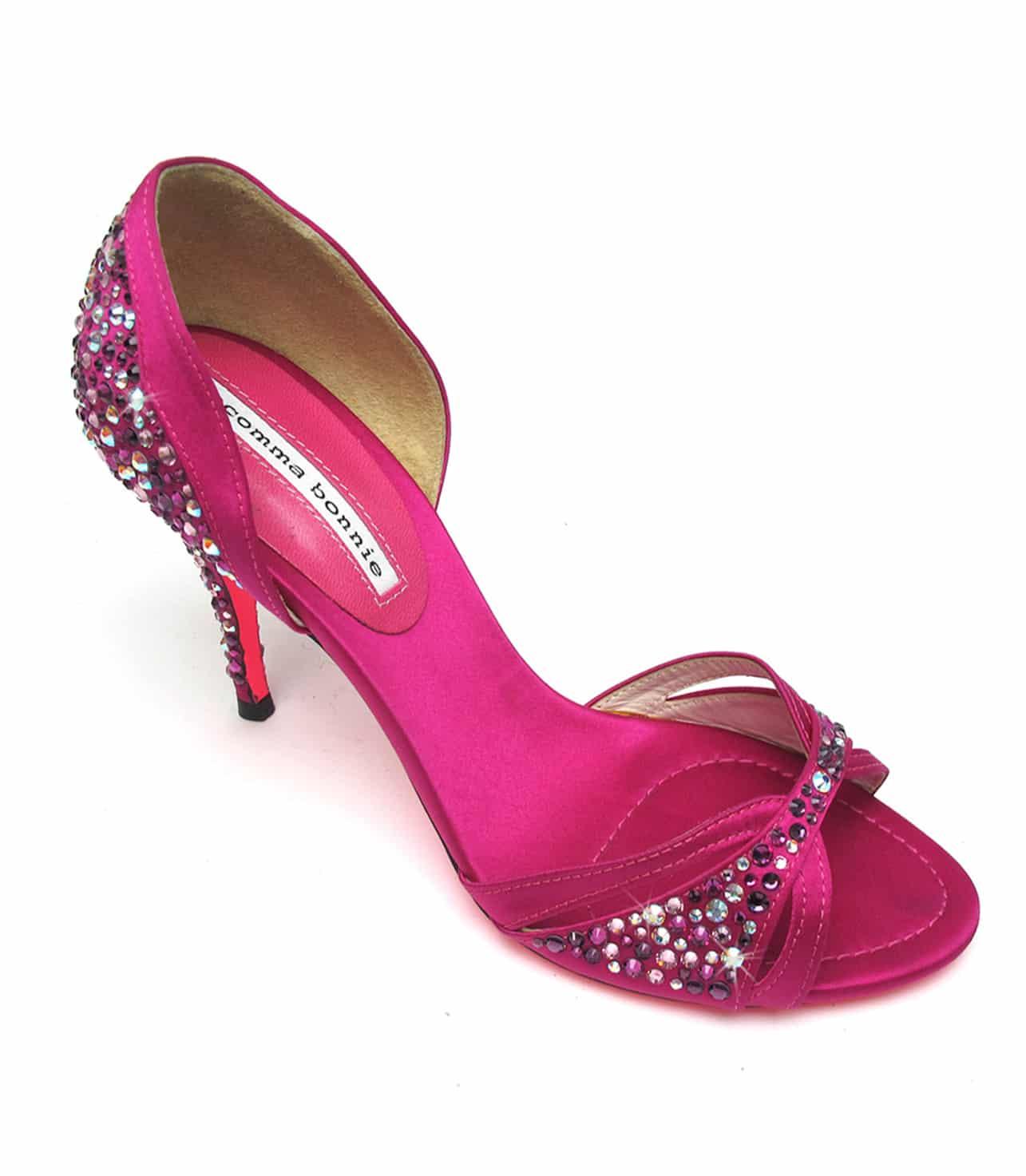 Fuschia Pink Peep Toe Heels