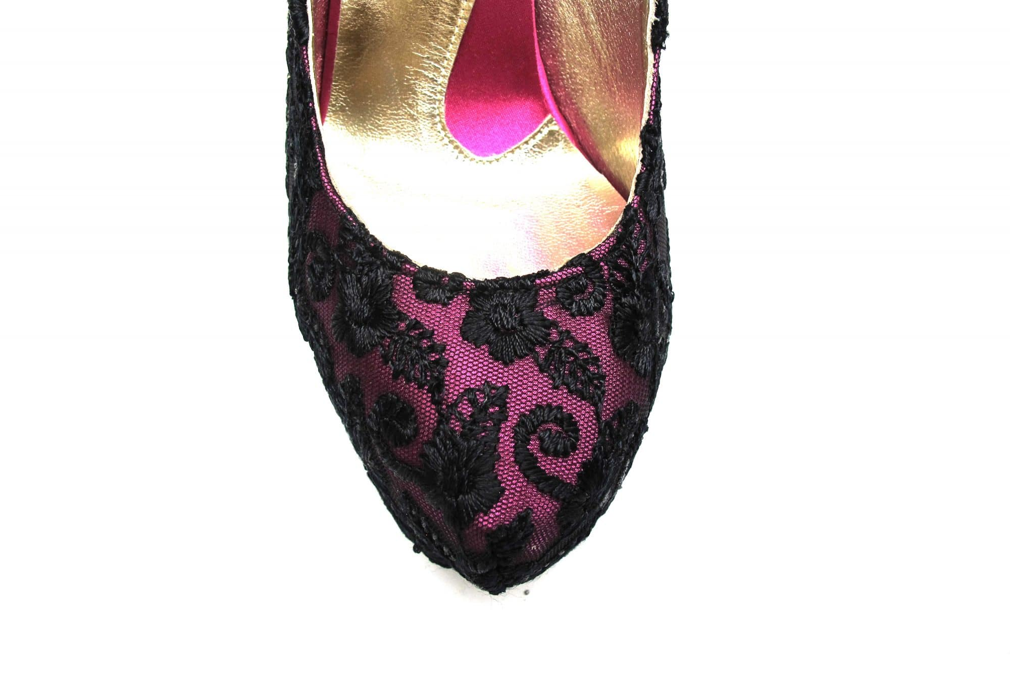 Veronesse Pink and Black Lace Super High Heels
