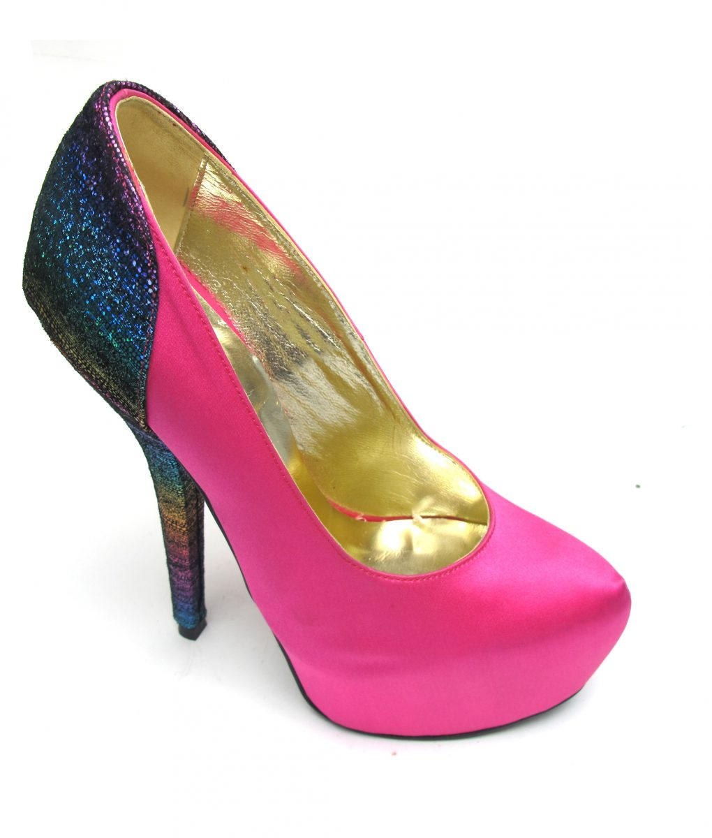 Veronesse Hot Pink and Rainbow Super High Heels
