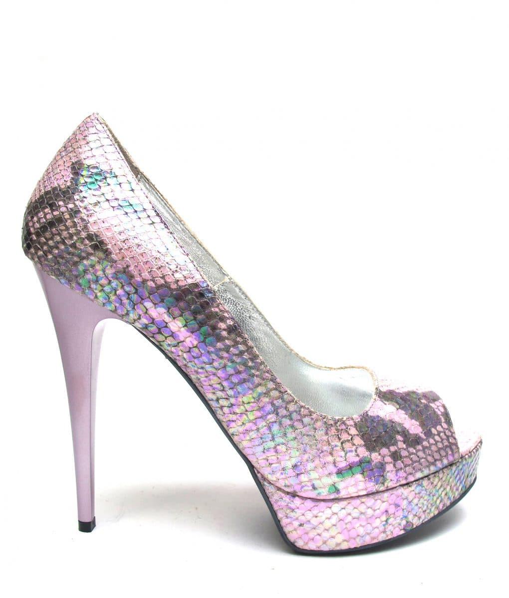 Veronesse Iridescent Pink Snake Print Peep Toe heels