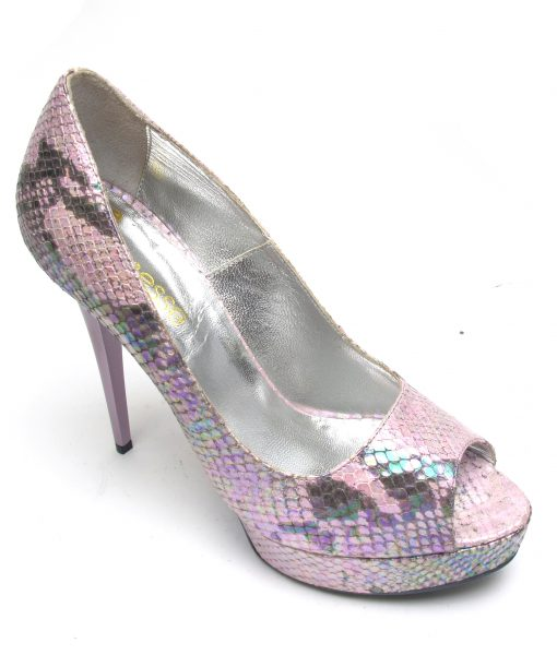 Veronesse Iridescent Pink snake peep toe heels