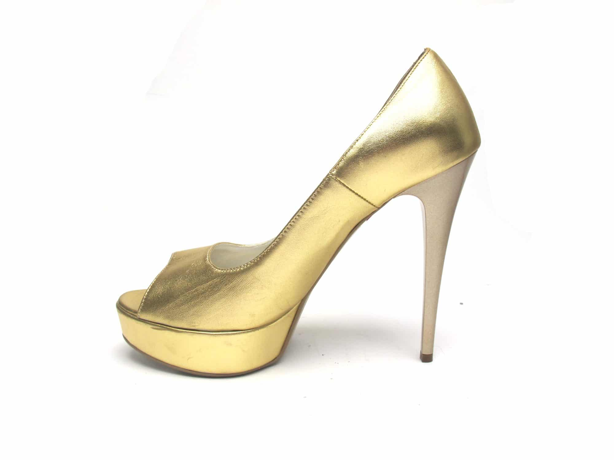 Veronesse Gold leather open toe heels