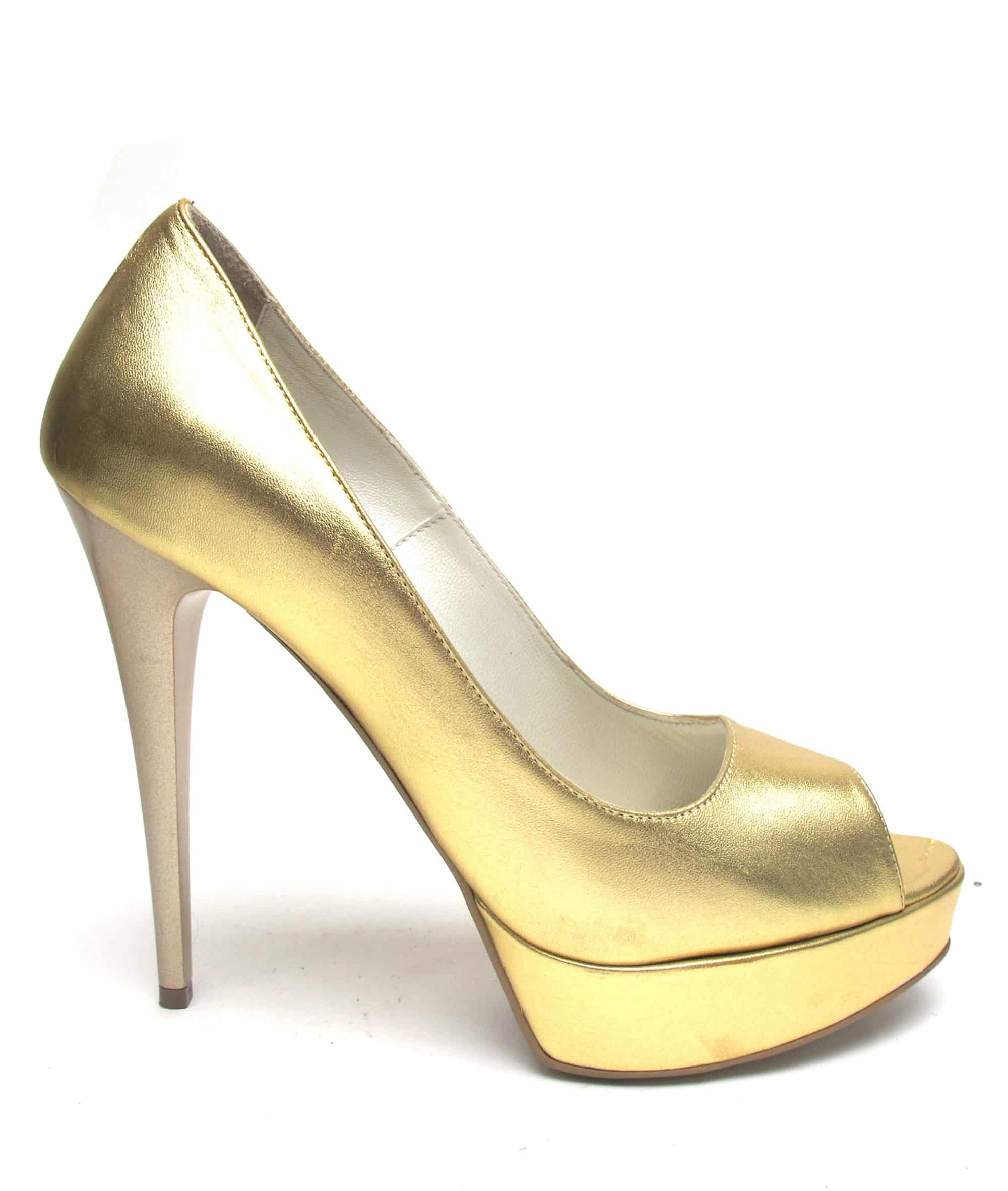 Veronesse Gold heels leather open toe heels