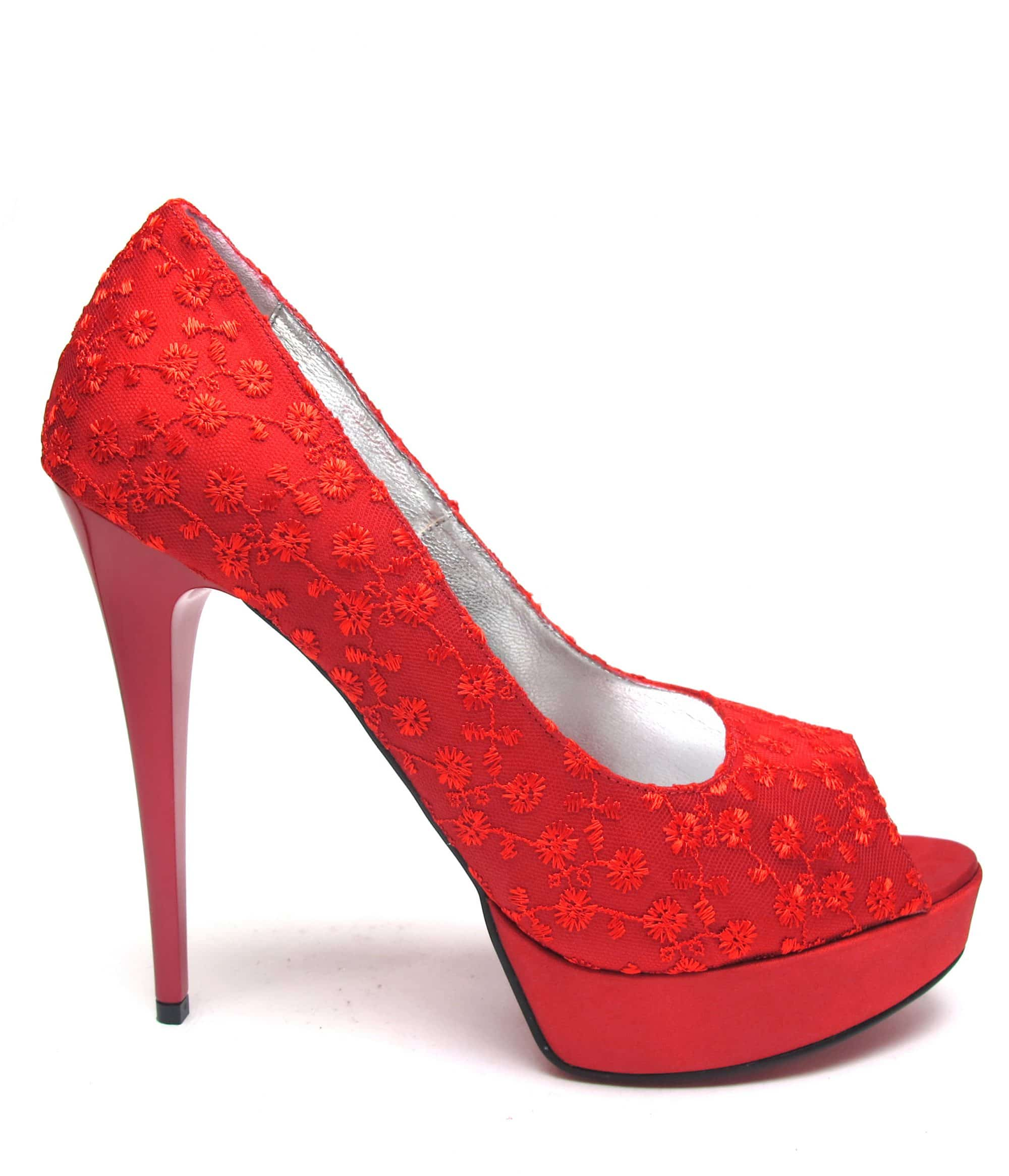 Veronesse Red Lace peep toe heels
