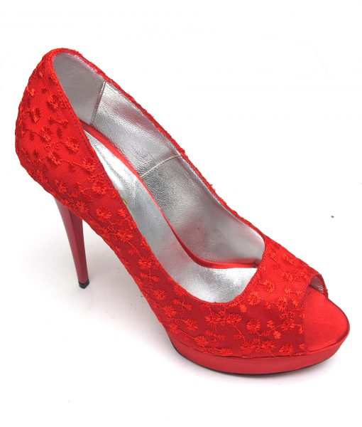 Veronesse Red Lace Open Toe Heels