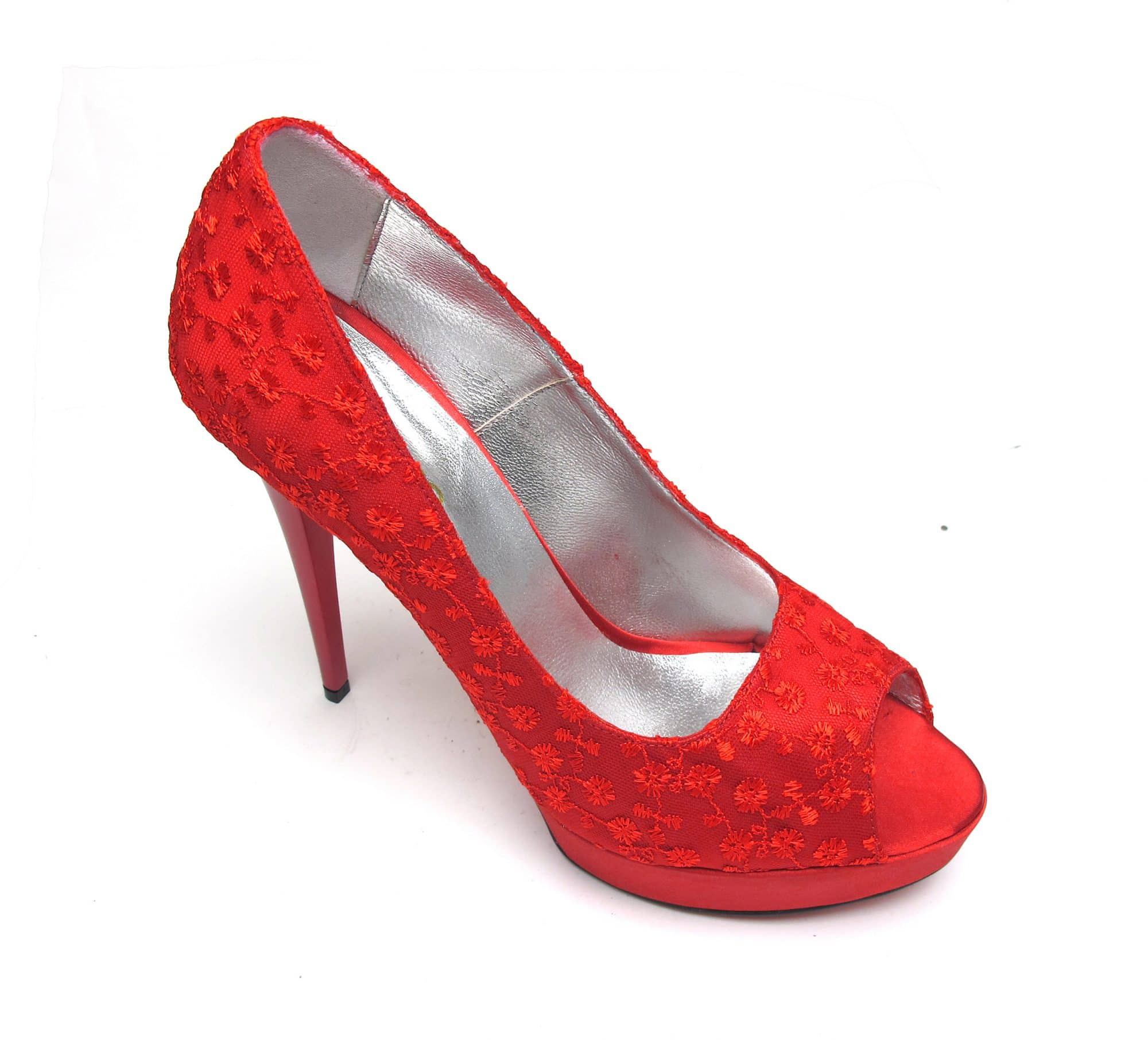 Veronesse Red Lace Open Toe Heels