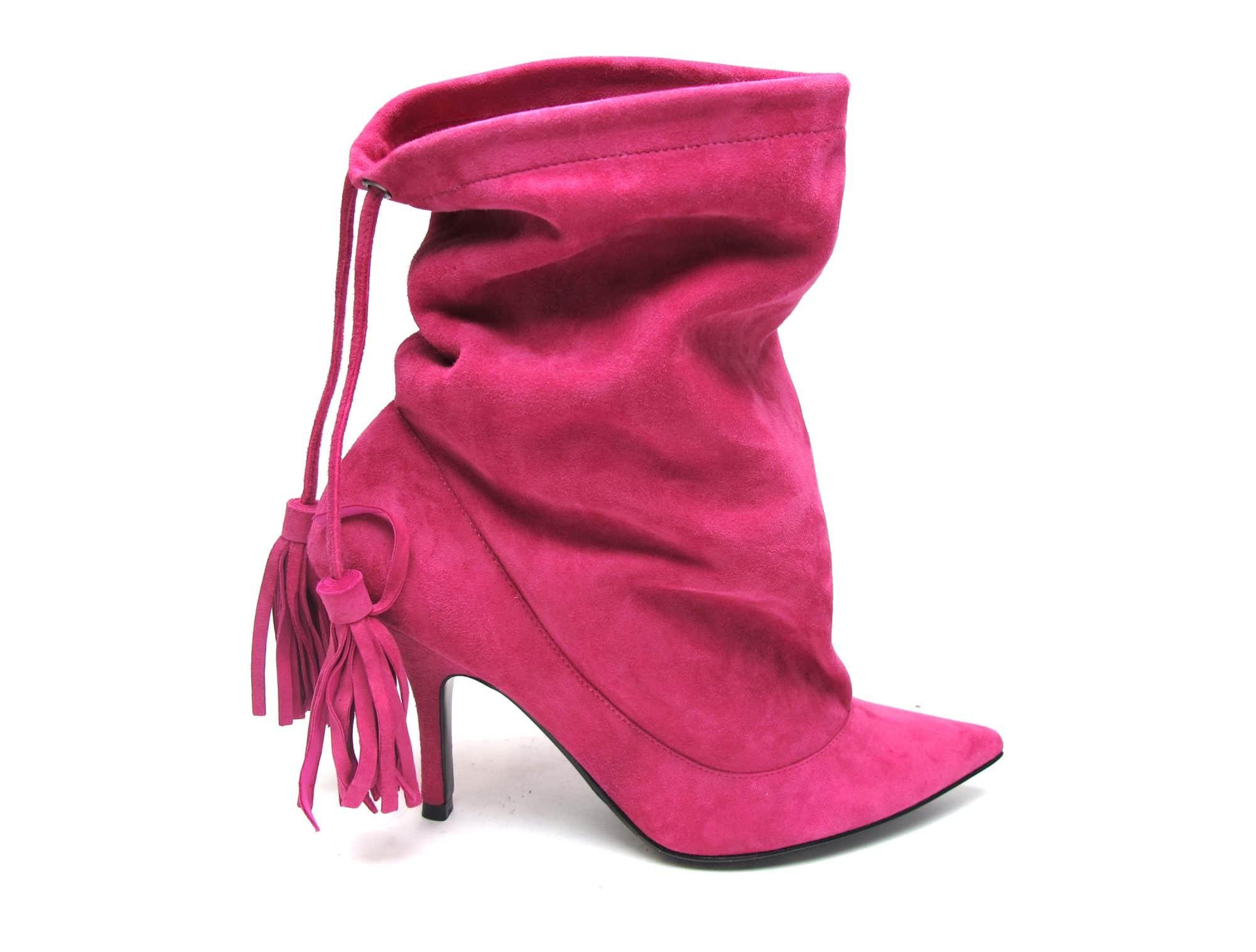 "Tsuru ""Pajama"" Hot pink suede tassle boots"