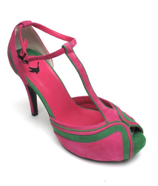 Tsuru Green and pink T-bar peep toe heels