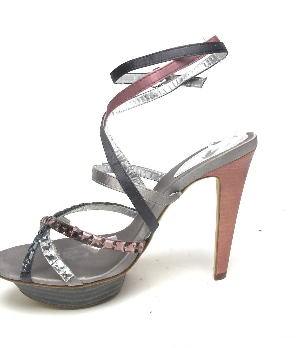 Tsuru Grey & Pink strappy heels with crystals
