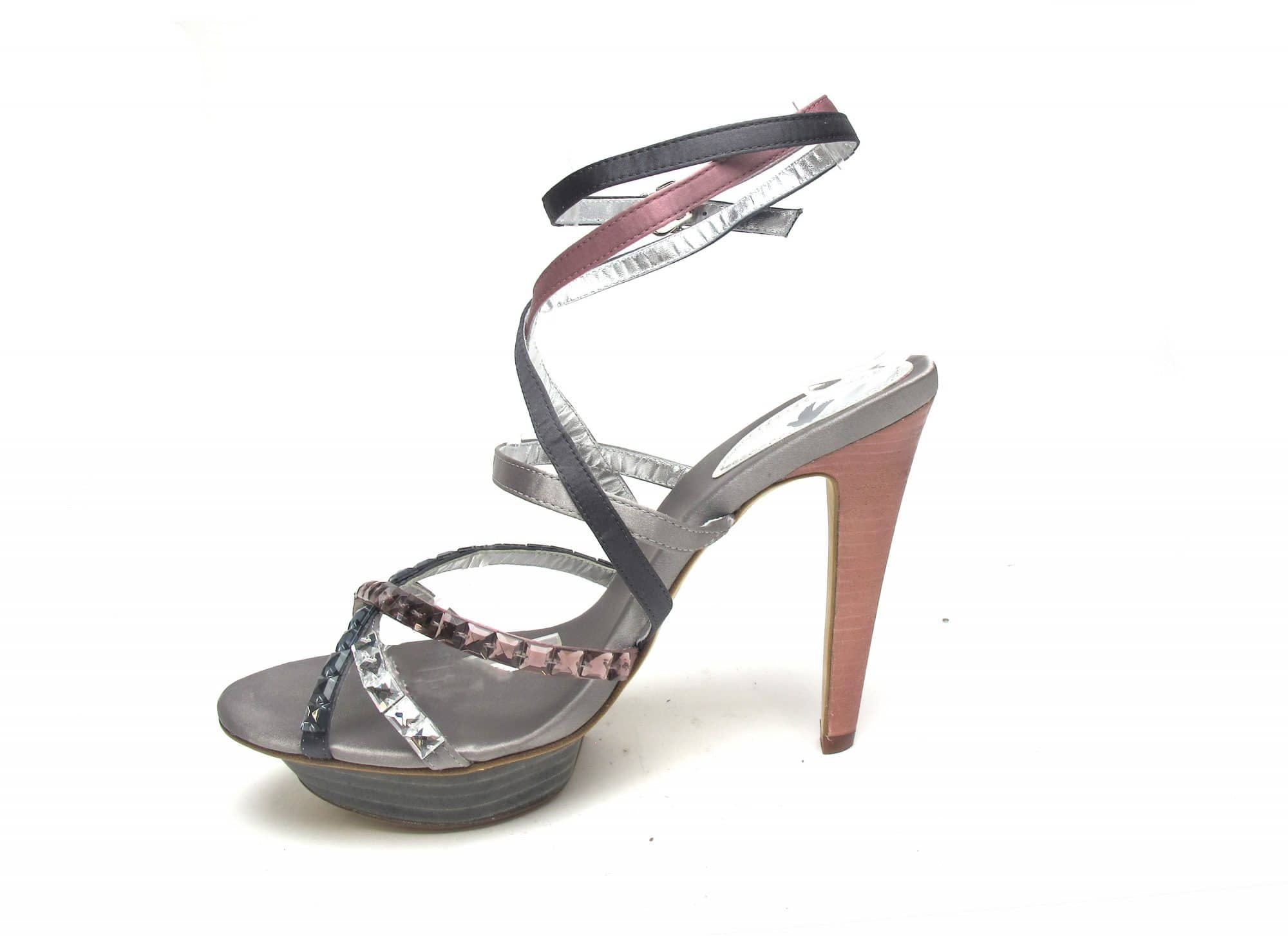 Tsuru Grey & Pink strappy heels with crystals