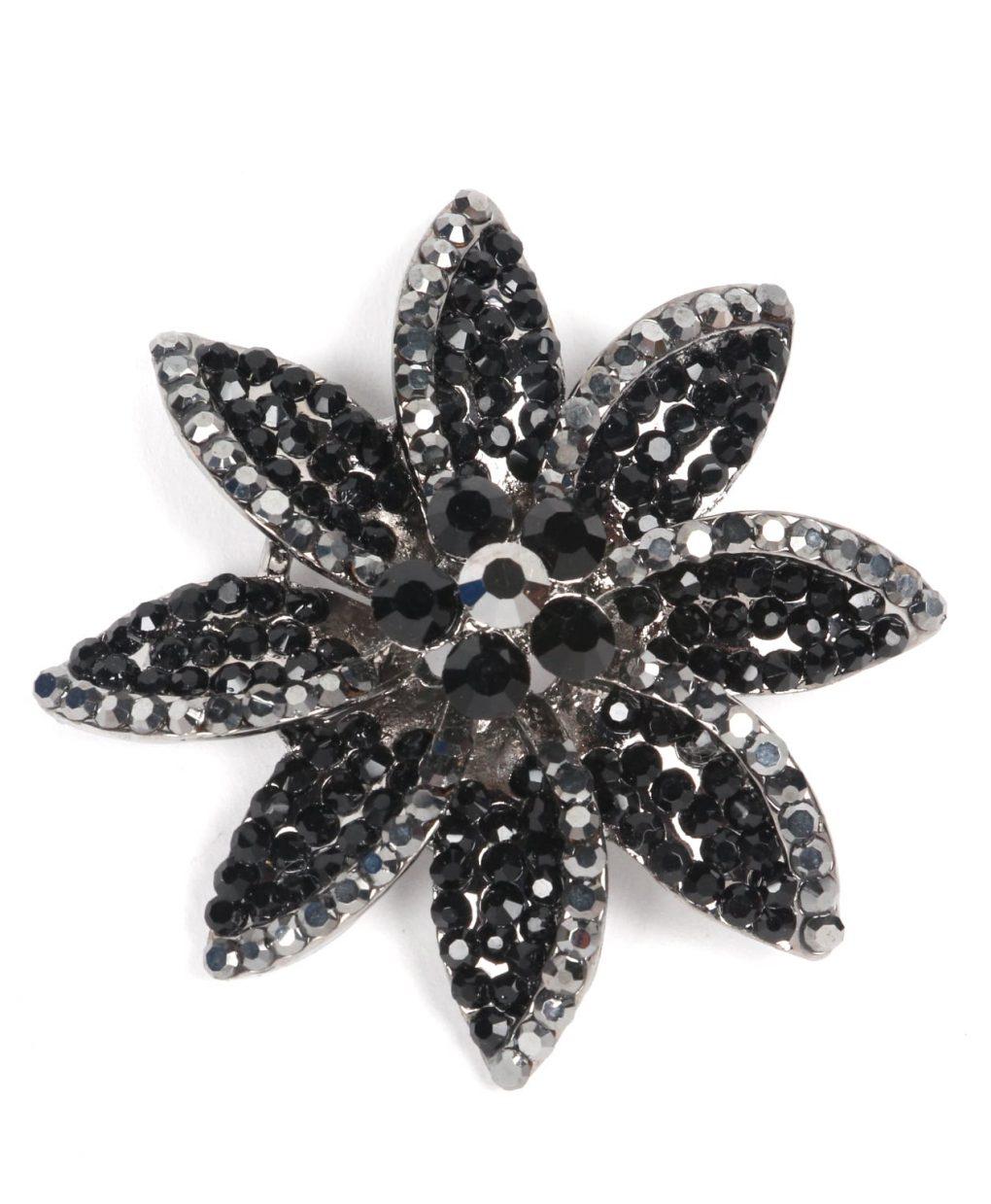 black crystal flower brooch