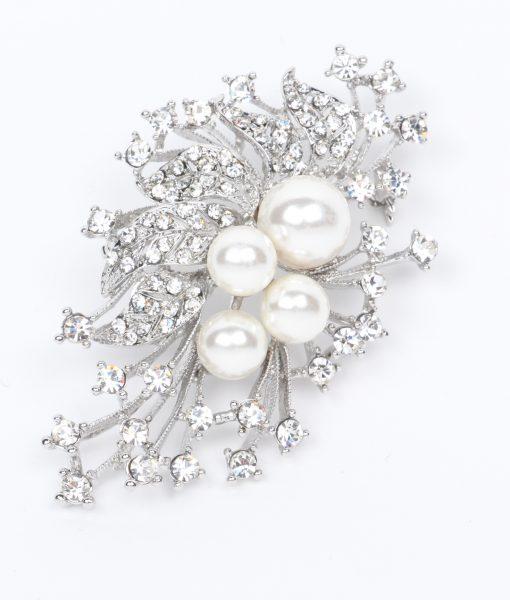 Pearl leaf brooch 0461