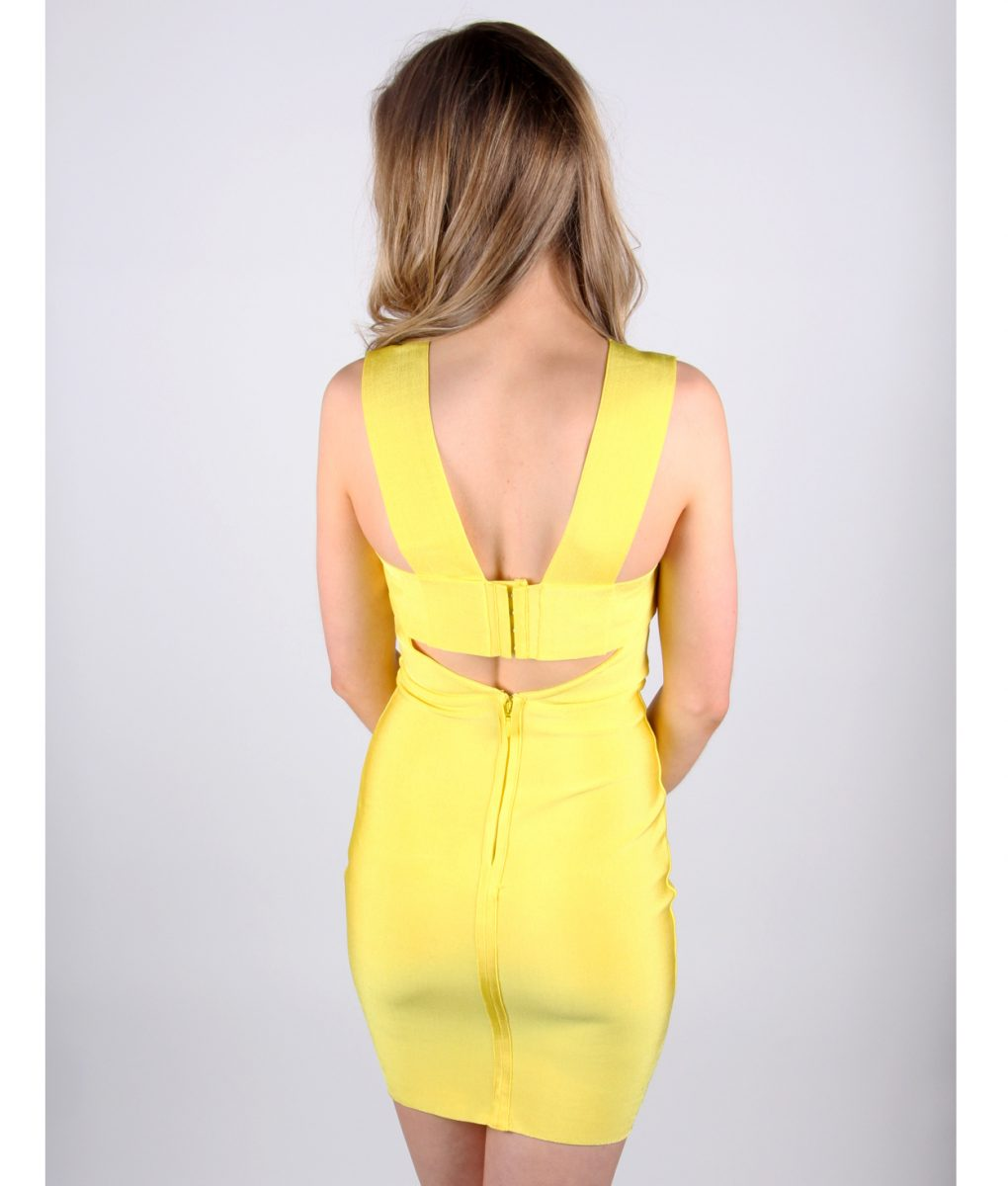 Alila Yellow Bodycon Bandage Dress By Wow Couture.