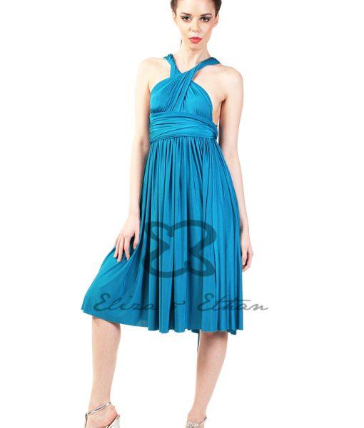 Eliza & Ethan Blue Lagoon Short Multiwrap Dress Alila
