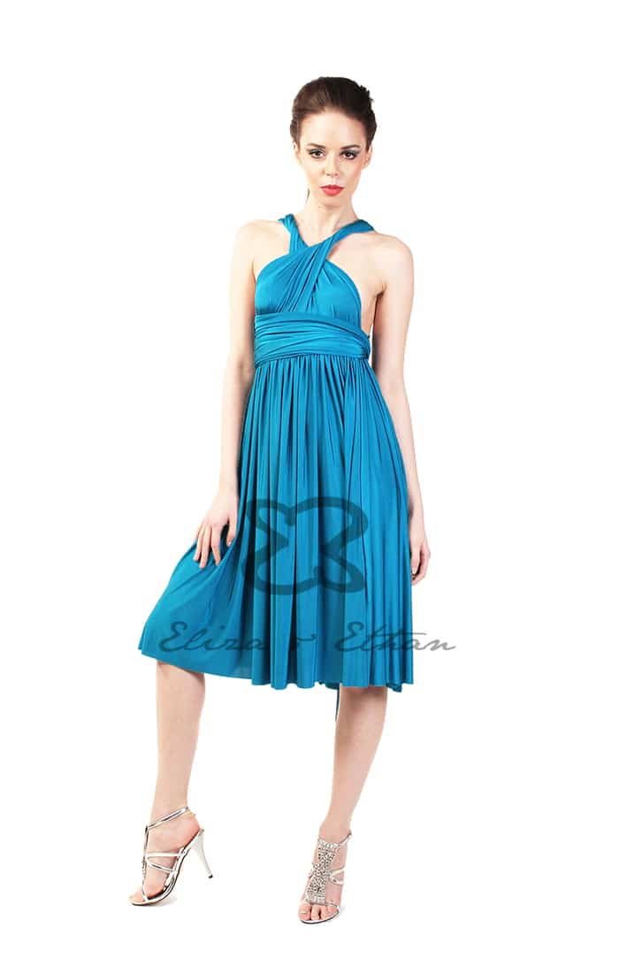 Eliza & Ethan Blue Lagoon Short Multiwrap Dress Alila