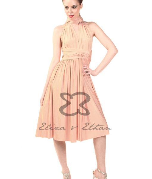 Eliza & Ethan Dusty Peach Short Multiwrap Dress Alila