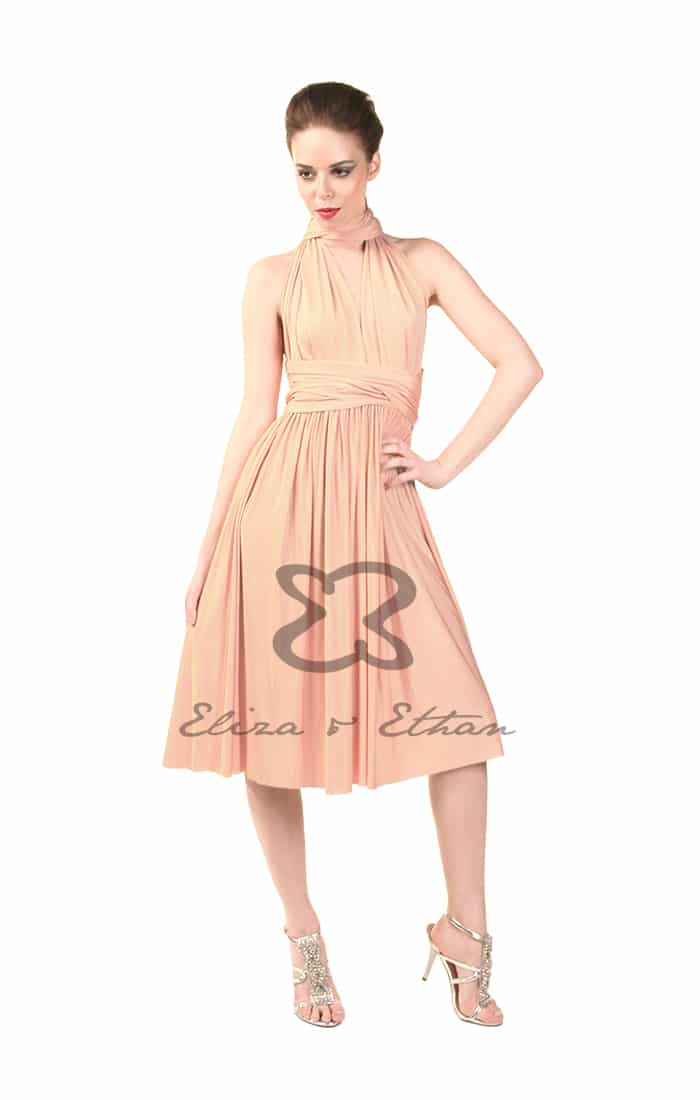 Eliza & Ethan Dusty Peach Short Multiwrap Dress Alila