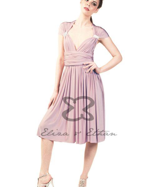 Eliza & Ethan Dusty Rose Short Multiwrap Dress Alila
