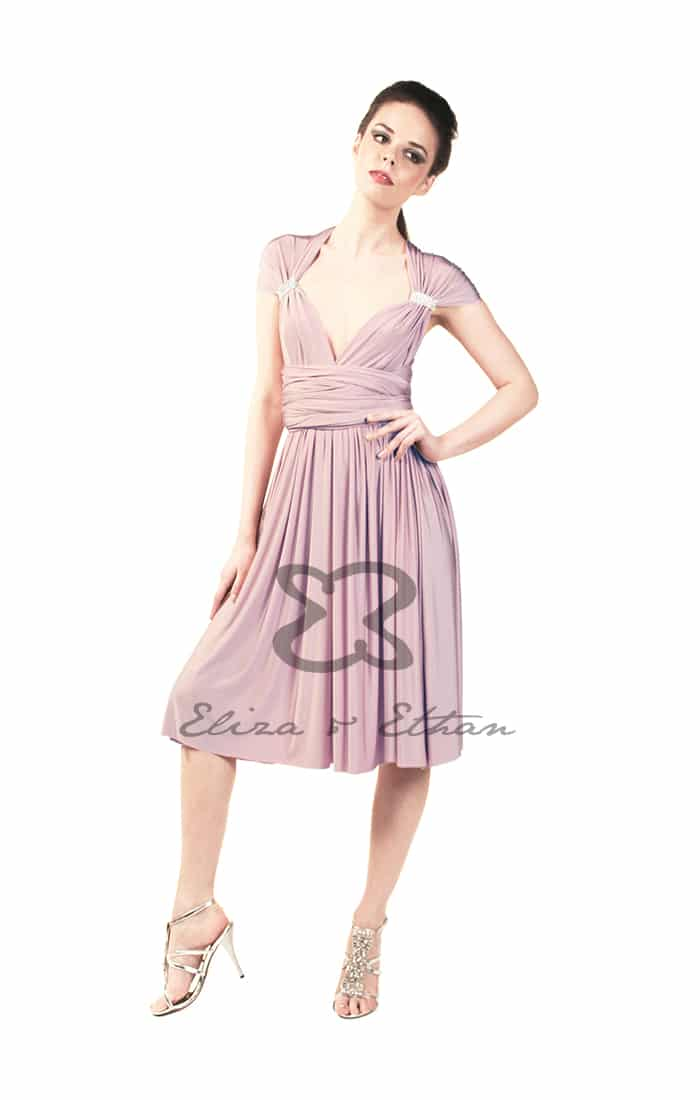 Eliza & Ethan Dusty Rose Short Multiwrap Dress Alila