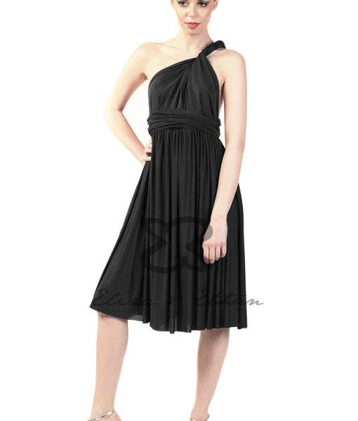 Eliza & Ethan Black Onyx Short Multiwrap Dress Alila