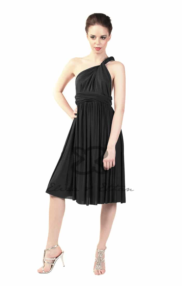 Eliza & Ethan Black Onyx Short Multiwrap Dress Alila