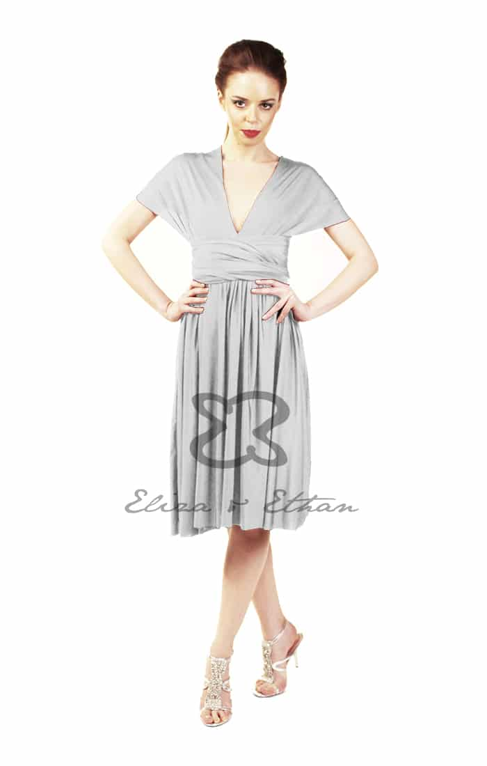 Eliza & Ethan Platinum Short Multiwrap Dress Alila